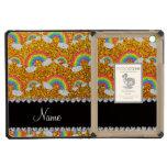Personalized name yellow glitter rainbows iPad mini retina case