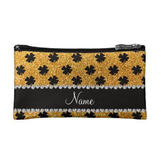 Personalized name yellow glitter shamrocks makeup bag