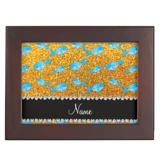 Personalized name yellow glitter whales memory box