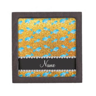 Personalized name yellow glitter whales premium gift box