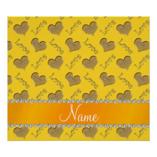 Personalized name yellow gold hearts mom love poster