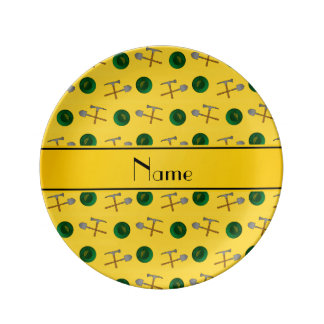 Personalized name yellow gold mining porcelain plates