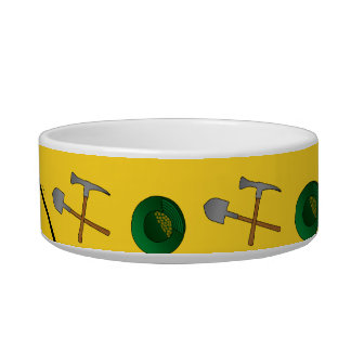 Personalized name yellow gold mining cat food bowls