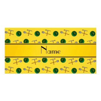 Personalized name yellow gold mining picture card
