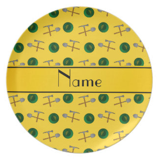 Personalized name yellow gold mining plates