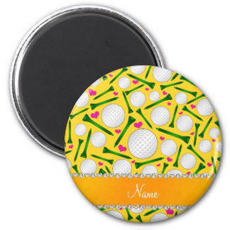 Personalized name yellow golf balls tees hearts 2 inch round magnet
