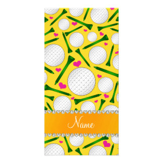 Personalized name yellow golf balls tees hearts photo card