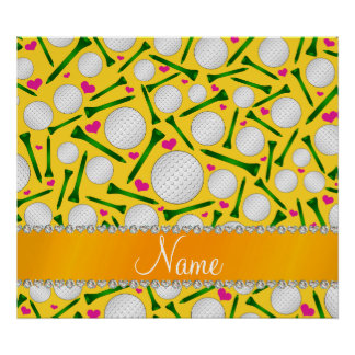 Personalized name yellow golf balls tees hearts poster