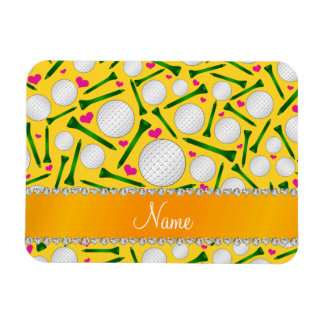 Personalized name yellow golf balls tees hearts rectangular photo magnet