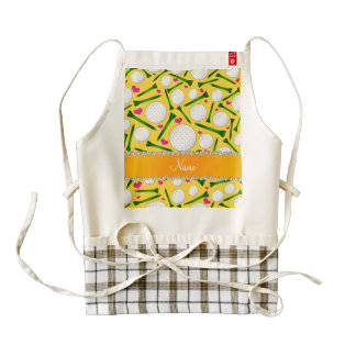 Personalized name yellow golf balls tees hearts zazzle HEART apron