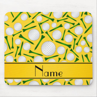 Personalized name yellow golf balls tees mouse pad