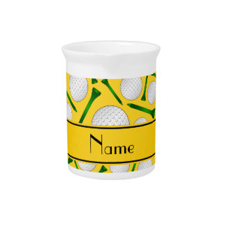 Personalized name yellow golf balls tees drink pitcher