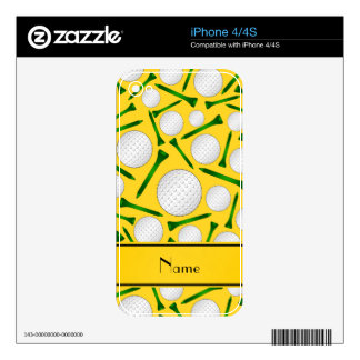 Personalized name yellow golf balls tees decals for iPhone 4