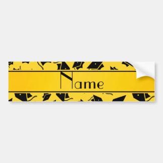 Personalized name yellow graduation cap bumper stickers