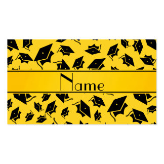 Personalized name yellow graduation cap business card templates