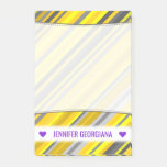 [ Thumbnail: Personalized Name; Yellow & Gray Stripes Pattern Notes ]