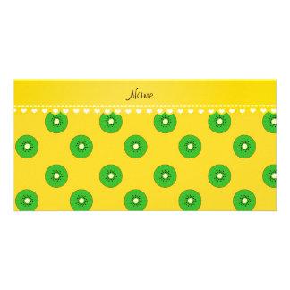 Personalized name yellow green kiwi photo card