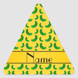 Personalized name yellow green pickles triangle stickers