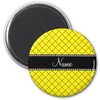 Personalized name yellow grid pattern refrigerator magnets