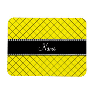 Personalized name yellow grid pattern flexible magnets