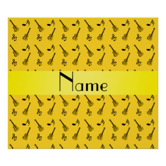 Personalized name yellow guitar pattern posters
