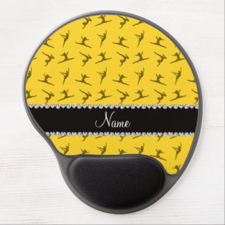 Personalized name yellow gymnastics pattern gel mousepads