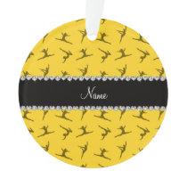 Personalized name yellow gymnastics pattern ornament