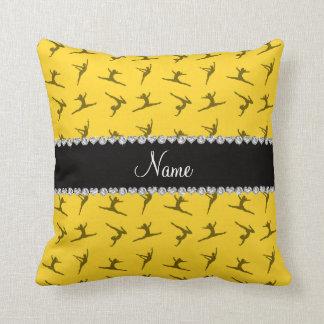 Personalized name yellow gymnastics pattern pillow