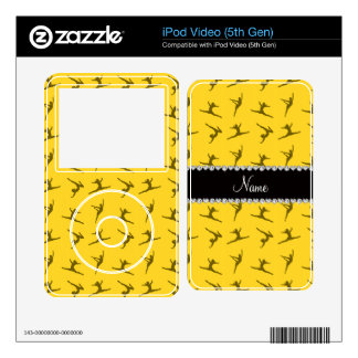 Personalized name yellow gymnastics pattern iPod video 5G decals