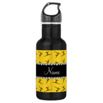 Personalized name yellow gymnastics pattern water bottle