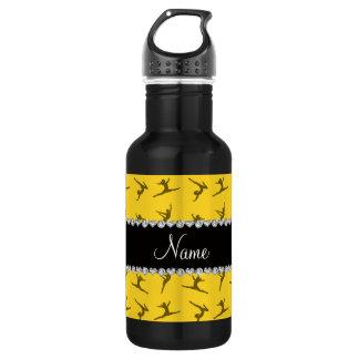 Personalized name yellow gymnastics pattern water bottle