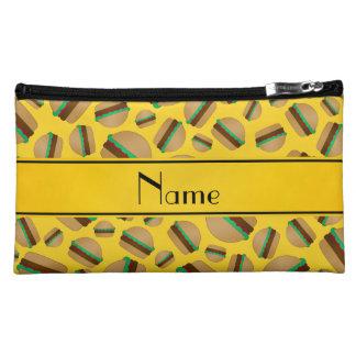 Personalized name yellow hamburger pattern makeup bags