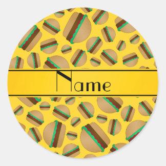 Personalized name yellow hamburger pattern classic round sticker