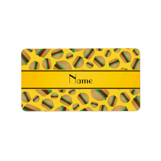 Personalized name yellow hamburger pattern labels