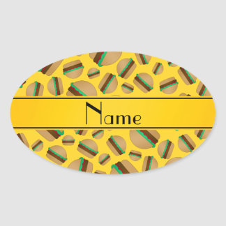 Personalized name yellow hamburger pattern oval sticker