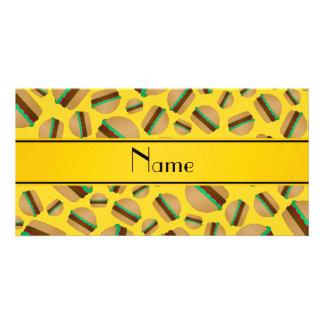 Personalized name yellow hamburger pattern personalized photo card