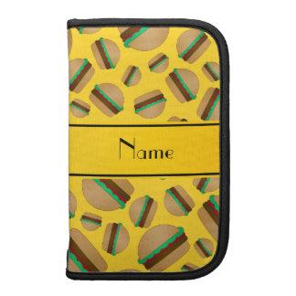 Personalized name yellow hamburger pattern planner