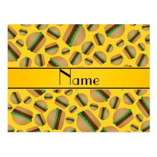 Personalized name yellow hamburger pattern post card