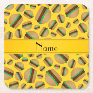 Personalized name yellow hamburger pattern square paper coaster
