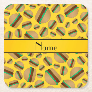 Personalized name yellow hamburger pattern square paper coaster