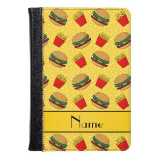 Personalized name yellow hamburgers fries dots