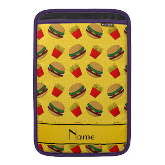 Personalized name yellow hamburgers fries dots sleeve for MacBook air