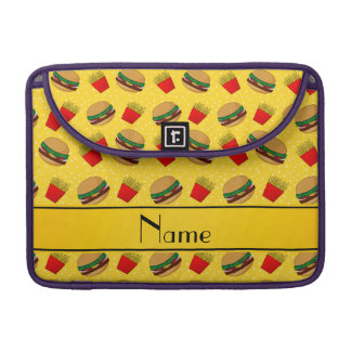 Personalized name yellow hamburgers fries dots sleeve for MacBook pro