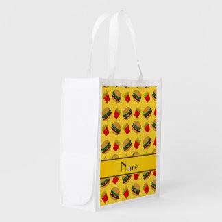 Personalized name yellow hamburgers fries dots market tote
