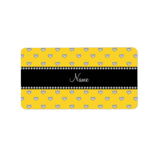 Personalized name yellow heart diamonds labels