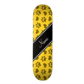 Personalized name yellow hearts and paw prints skateboard deck