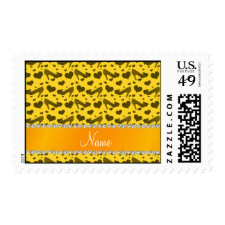 Personalized name yellow hearts shoes bows postage