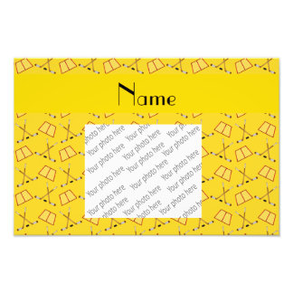 Personalized name yellow hockey pattern photographic print