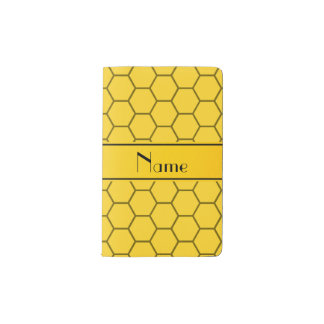 Personalized name yellow honeycomb pocket moleskine notebook cover with notebook