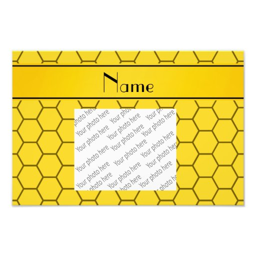 Personalized name yellow honeycomb photographic print